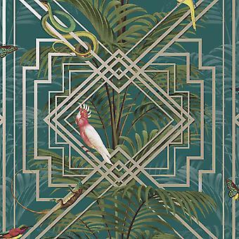 Kongo Geometryczne Tapety Teal Holden 13055