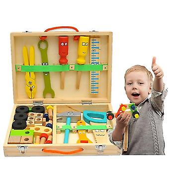 Tool Kit For Kids, Wooden Tool Box With Colorful Building Toy Set