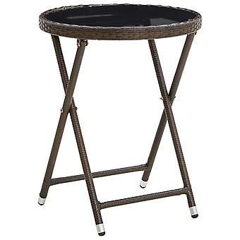 vidaXL Side Table Brown 60 cm Poly Rattan and Tempered Glass