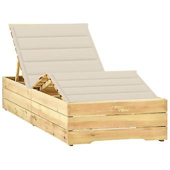 vidaXL sun lounger with cream coating Impregnated pine wood