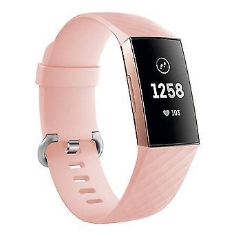 Pulsera de silicona compatible con Fitbit Charge 3(Pink)