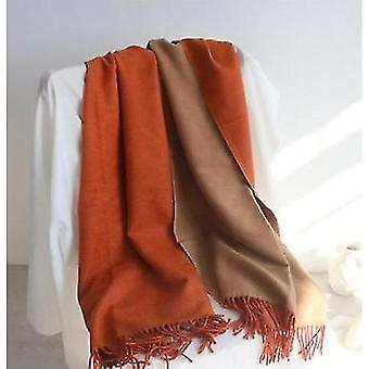 Double-sided Solid Color Dual-purpose Bib Mid-length Thick Warm Shawl(Orange)