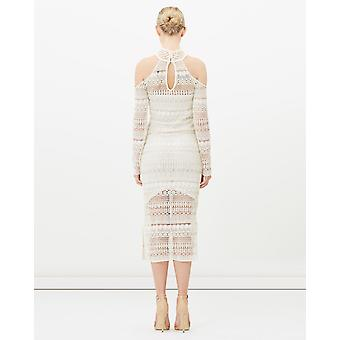 Beaded Embroidered Cut Shoulder Lace Dress