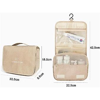 Damen Handgehaltene große Kapazität hängende Reise Kosmetiktasche (Beige)