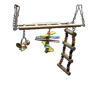 Échelle de balançoire en bois d'escalier de jouet d'oiseau escaladant le jouet de perroquet de Haning
