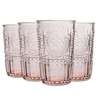 8x Verres Highball romantiques décorés Jus d'eau Cocktail Tumblers 340ml Rose