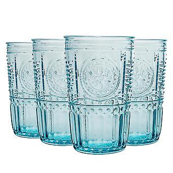 4x Verres Highball romantiques décorés Jus d'eau Cocktail Tumblers 475ml Bleu