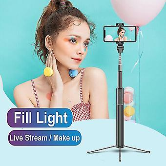 Photo mounting supplies 66in portable bluetooth remote selfie stick tripod with pro fill light