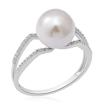 Pearl Engagement Solitaire Ring for Women Silver White Cubic Zirconia 3.75ct(S)