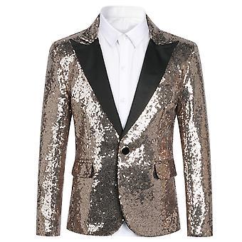 Homemiyn Boy's Single-breasted Button Jcaket Solid Color Sequined Blazer Jacket Slim Fashion Boy Dress Three Colors