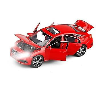 Qian 1/32 Toy Car Honda Civic Metal Alloy Die Cast Miniature Model Simulation Sound Light Sedan
