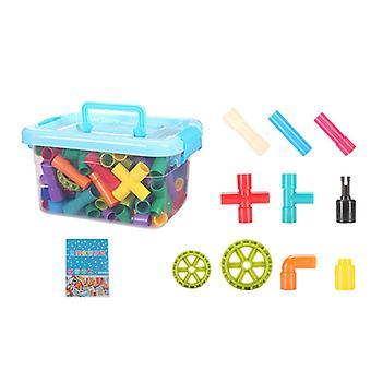 144 PC/ボックスチューブ状パイプビルディングブロックスパウトジョイント教育学習おもちゃ子供のための子供の男の子の贈り物セット