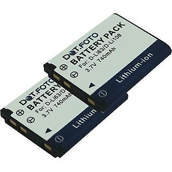 2 x Dot.Foto Pentax D-LI63, D-LI108 erstatningsbatteriet - 3,7 v / 740mAh