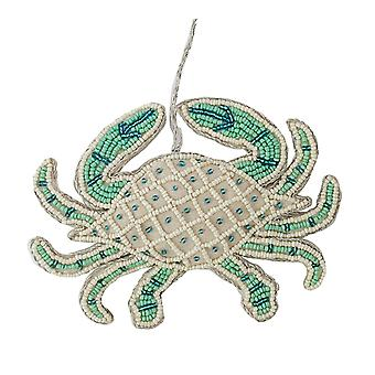 Seafoam Green and Blue Beaded Crab Christmas Holiday Ornament