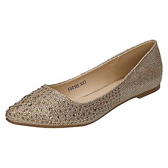 Womens Anne Michelle Diamante Flat Ballet Shoe F80185