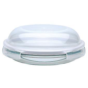 Lock & Lock Ovenglass 24cm Round Glass Dish/Plate with Dome Lid
