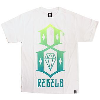 Rebel8 kaltevuus Logo t-paita valkoinen vihreä