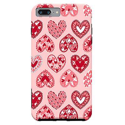 ArtsCase Designers Cases Pink Papercut Hearts for Tough iPhone 8 Plus / iPhone 7 Plus