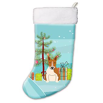 Merry Christmas Tree Bull Terrier Red White Christmas Stocking