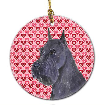 Carolines tesoros SS4523CO1 Schnauzer corazones amor y cerámica de San Valentín