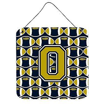 Litera O piłce nożnej niebieski i złoty ściany lub drzwi wiszące drukuje
