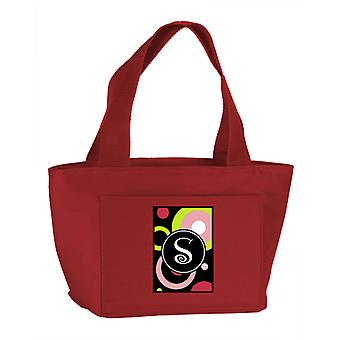 Letter S Monogram - Retro in Black Zippered Insulated School Washable and Stylis