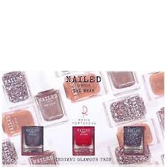 Nailed Londen Gel slijtage Instant Glamour Gift Set 3 x 10 ml-nagellak (Knight Rider + Londen raadsel Rosie's rood)