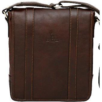 Genuine Leather Side Shoulder Bag Unisex Messenger Tablet Ipad Case