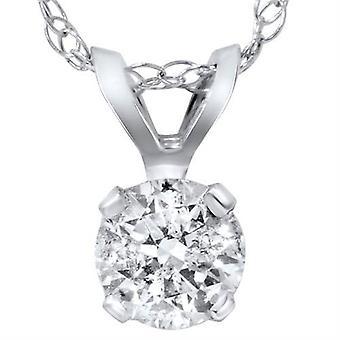 1 1 / 2ct Runde brillant geschnitten Solitär Diamant Anhänger 14K Weißgold & 18
