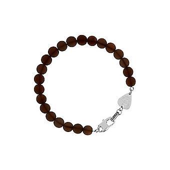 Antar att mens armband rostfritt stål pärlor Brown UMB21507-S