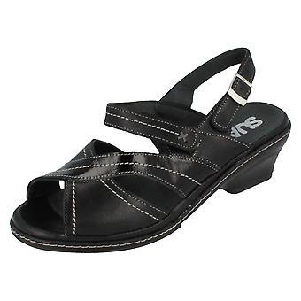Ladies Suave Leather Wedge Sandals Eden