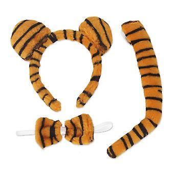 Tygrys zestaw 3 szt opaska z uszami muszka ogon zwierzę kostium kot akcesorium