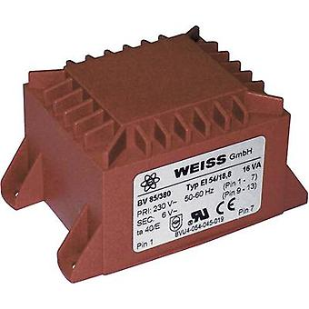 PCB mount transformer 1 x 230 V 1 x 12 V AC 16 VA 1333 mA 85/382 Weiss Elektrotechnik