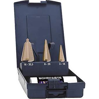 Exact 50105 Quick-Helix boorbit set 3-delig 3-14 mm, 4-20 mm, 16-30,5 mm HSS TiN driehoekige schacht 1 set