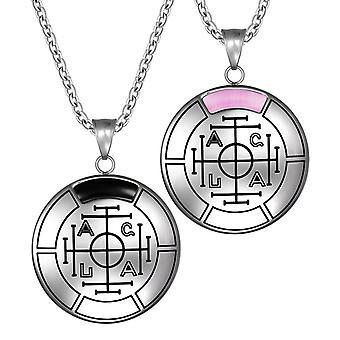 Glück, Reichtum und Erfolg magische Medaillon Amulette Liebe Paare Set Anhänger Halskette