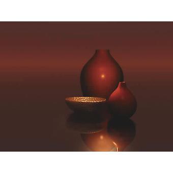 Red Vases with Bowl Poster  Trevor Scobie (KUNSTDRUCK)