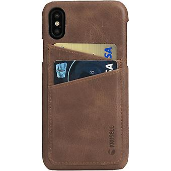 Krusell Sunne leather cover cover for Apple iPhone X / XS 5.8 leather protective case cover cognac