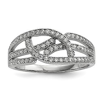 925 Sterling Silver Pave Rhodium plated and CZ Cubic Zirconia Simulated Diamond Brilliant Embers Ring Jewelry Gifts for