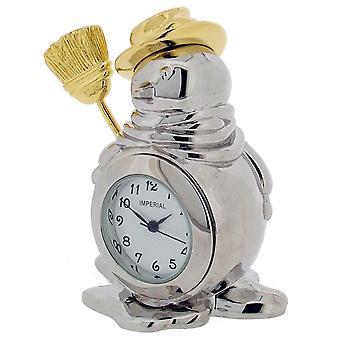 Cadeau producten Snowman Mini klok - zilver/goud