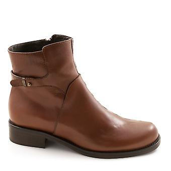 Handmade women's low heel ankle boots in tan leather