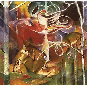 Deer in the Forest I, Franz Marc, 50x50cm