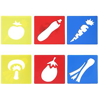 TRIXES 6 x Plastic Vegetable Stencils - for Decorating Cards, Drawing Scrapbooks and Crafts - Washable