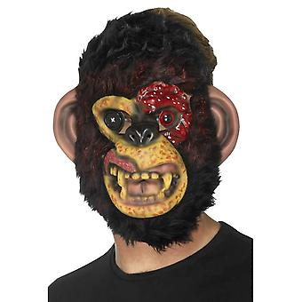 Zombie Chimp masker, zwart, EVA, met bont