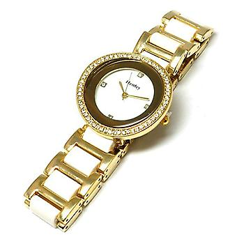 Henley Glamour Goldtone & White Watch, Diamante Crystals