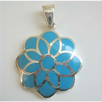 Blue Turquoise Flower Sterling Silver Flower Pendant