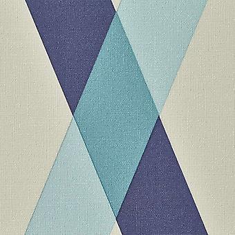 Diamant geometrisk kontrol tapet blå grå stribe tekstureret vinyl pasta væg
