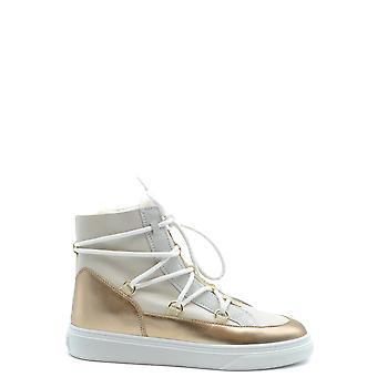 Hogan Ezbc030114 Damen's Weiß/Gold Leder Hi Top Sneakers