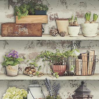 Flower Pots Wallpaper Garden Rustic Shelves Distressed Paste The Wall Vinyl