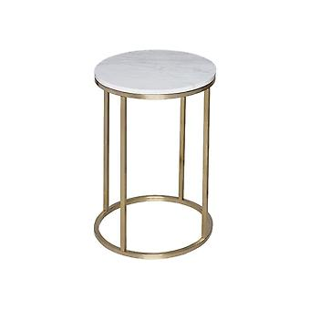 Gillmore White Marble And Gold Metal Contemporary Circular Side Table