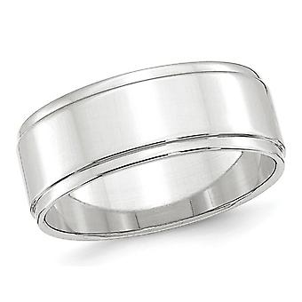 Mens 10K White Gold 8mm Flat Wedding Band with Step Edge